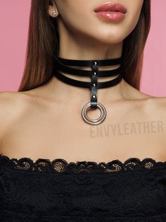 Beige Submissive Collar Thick Leather Choker Ring Choker Bondage Collar Necklace BDSM Collar Submissive Jewelry Gothic Choker
