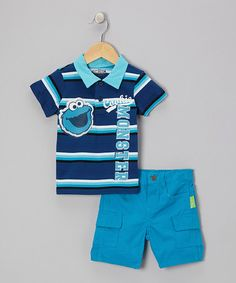 Take a look at this Blue Stripe Cookie Monster Polo & Cargo Shorts - Infant & Toddler by Sesame Street on #zulily today!