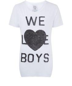 Zoe Karssen White We Love Boys Jersey T-Shirt   Women's Tops by Zoe Karssen   Liberty.co.uk