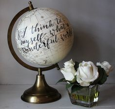 And I Think To Myself, What A Wonderful World - Large, White and Gold Globe, Calligraphy, Song Lyrics, Travel by SimplyGypsyDesigns on Etsy