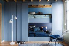 Dulux Colour Futures 17 - Colour of the Year - Denim Drift - Kids Bedroom - Denim Drift, Sash Blue, Cornflower Bunch, Marine Waters Dulux Paint Colour Of The Year, Color Of The Year 2017, Paint Colors, Denim Drift, Tiny Loft, Built In Bunks, Cool Bunk Beds, Blue Rooms, Loft Spaces
