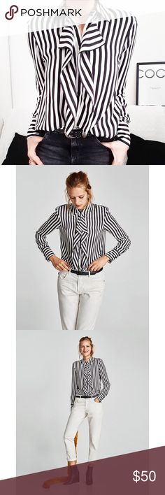 f779cd97 NWT Zara Black White Striped Ruffle Front Blouse Black and white striped  ruffled front button down