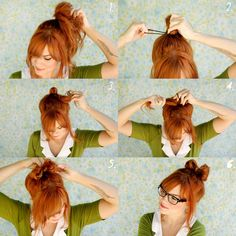 "1. Start with a loose pony tail. 2-3. Take the rubber band (or pony tail holder) and pull the hair through half-way. 4. Flip the tail to the other side and repeat, leaving a small tail remaining.  5. Take the tail, fold over the middle, and pin in place. From underneath pin both sides of the ""bow"" in place. Tug on the loops until you have a perfect, messy bow!"