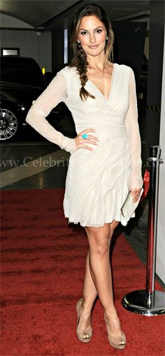"Minka Kelly in J. Mendel dress, Salvatore Ferragamo heels, Jack Vartanian ring, and Calvin Klein clutch at the L.A. premiere of ""The Roommate"", January 2011"