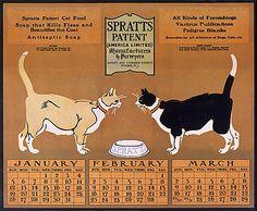 SPRATTS cat food vintage advertising calendar