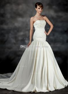 Cheap Wholesale Product - Discount Ball Gown 2014 Wedding Dress Strapless Lace Up Handmade Flow Taffeta Breezy Floor Length White Ivory Couture Gown Size 2 4 6 8 10 12 14 16 Online with $149.74/Piece | DHgate