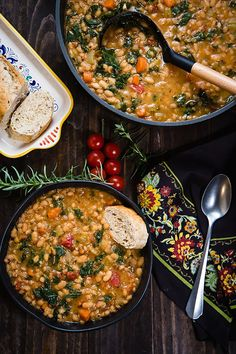 Vegan Tuscan White Bean Soup in the Instant Pot (Fatfree Vegan Kitchen) Pasta Fagioli Soup Recipe, Soup Recipes, Vegan Recipes, Black Bean Soup, Vegan Soups, Vegan Stew, Sauteed Vegetables, Vegan Kitchen, Dried Beans