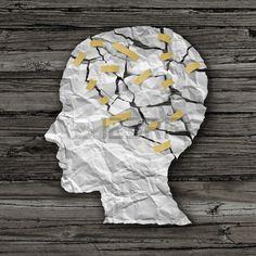 La terapia de enfermedades del cerebro y el concepto de tratamiento de salud mental como una hoja de Foto de archivo