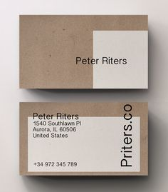 A unique kraft professional business card with an interesting design