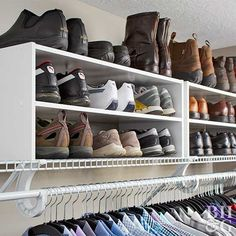 How You Organize an Overflowing Closet THIS Is How You Organize an Overflowing Closet Vacuum Removes Mites Even 3 Thick Layers Away 7 Closet Organization Tips You've Never Heard organized shoe closet Closet Shoe Storage, Small Closet Organization, Bedroom Organization, Organization Ideas, Organizing Shoes, Apartment Closet Organization, Shoe Shelves, Wardrobe Storage, Pantry Storage