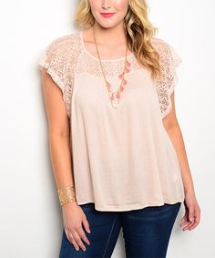 Look at this Blush Lace-Accent Flutter-Sleeve Top - Plus on #zulily today!