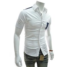 (AL206-WHITE) Slim Fit Checker Point Patched Pocket Stretchy Short Sleeve Shirts