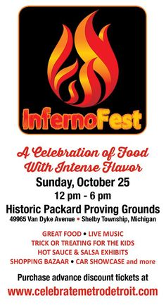 Sunday at noon Oct. 25th- the Inferno Fest will take place at the Packard Proving Grounds - plus free trick-r-treating for the kids! visit www.CelebrateMetroDetroit.com for advance tickets and more info! Proving Grounds, Trick R Treat, Upcoming Events, Live Music, Corporate Events, Sunday, Celebrities, Kids, Free