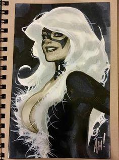 Spiderman Black Cat, Spiderman Girl, Black Cat Marvel, Dc Comics, Comics Girls, Comic Book Heroes, Comic Books Art, Black Cat Comics, Adam Hughes