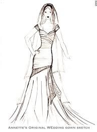 Annette's sketch for her own wedding gown
