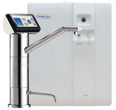The Chanson VS-70 7-plate undercounter water ionizer has a sleek faucet and produces alkaline and acid waters.