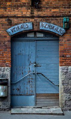 Riga, Latvia, old blue door, wooden door, details, weathered, beauty, architechture, photo