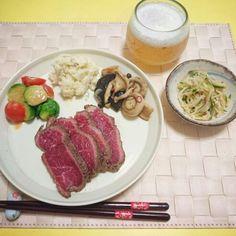 ⭐ゴルゴンゾーラのポテトサラダ ⭐平野レミ風ローストビーフ ⭐えのきときゅうりの中華和え ⭐きのこのハーブマリネ ⭐芽キャベツとミニトマトの酢味噌和え