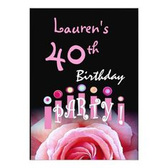 40th Birthday Party Pink Rose and Candles W1167 Card