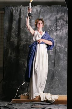 A 28 year-old Jenny Joseph modeling for what would become today's Columbia Pictures logo. She had never modeled before, and hasn't since.