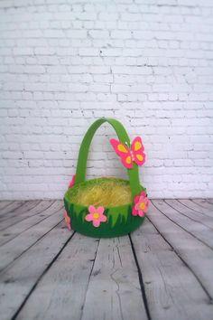 Easter Basket Felt Holiday Decor Spring Decorative Easter Basket Butterfly Flowers Handmade Easter Gift Kids Creative Decor Kawaii Ornaments by BelkaUA on Etsy