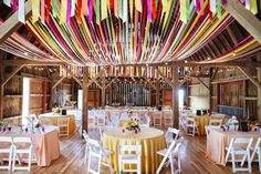 Justin Trails Resort near Sparta Wisconsin offers destination barn weddings where you reserve the resort and spend the weekend with your friends and family. This wedding was designed by Weddings by Nancy http://www.weddingsbynancy.com/. Took her hours and hours to put together this 7 ribbon canopy plus all the other decorations & managing the wedding day. Photo by Ray + Kelly Photography www.rayandkelly.com More about our garden, tent and barn weddings at www.justintrails.com
