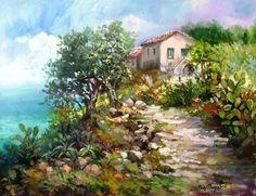 Art Painting, Landscape Paintings, Mural Art Design, Floral Art Canvas, Mural Art, Beautiful Paintings, Cottage Art, Beautiful Landscapes, Art Pictures