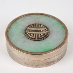 """Chinese jade mounted silver circular box: Late 19th\20th c., marked on underside of base, 0.75""""h x 2.5""""dia"""