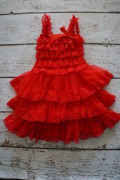 Red Flower Girl Dress Lace Flower girl dress  by PoshPeanutKids, $35.00