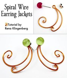 Spiral Wire Earring Jackets - Rena Klingenberg #Wire #Jewelry #Tutorials