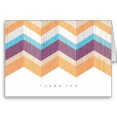 Trendy Purple Orange & Blue Chevron Thank You Cards