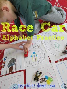Race Car Alphabet Practice! Perfect intro into Alphabet & a great way to subconsciously get them tracing & practicing fluid hand motions.