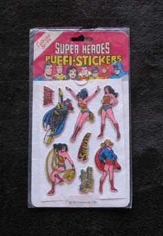 VINTAGE UNUSED Wonder Woman Supergirl super heroes DC stickers Batgirl