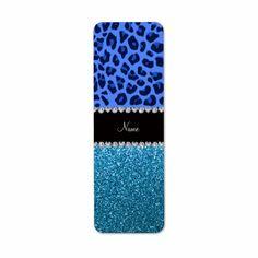 Personalized name blue leopard sky blue glitter return address labels