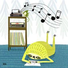 Art Illustrations, Children's Book Illustration, The Doodler, Cute Sloth, Record Player, Character Development, Childrens Books, Illustrators, Jasper