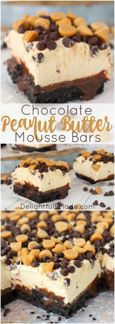 A chocolate and peanut butter lovers dream! With an OREO cookie crust, hot fudge, a thick layer of peanut butter mousse and topped with chocolate and peanut butter chips, these bars are cool, creamy and completely delicious! - use GF cookies Peanut Butter Desserts, Peanut Butter Chips, Peanut Butter Mousse Pie, Just Desserts, Delicious Desserts, Yummy Food, Delicious Chocolate, French Desserts, Oreo Dessert
