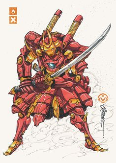Battle Suits Iron Man character studies including a Samurai redesign, by ClogTwo. Ms Marvel, Marvel Dc Comics, Marvel Heroes, Iron Man Kunst, Iron Man Art, Comics Illustration, Japon Illustration, Iron Men, Genos Wallpaper