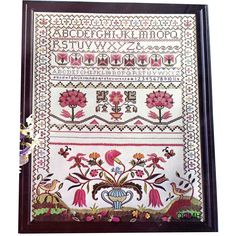 MUSEUM SAMPLER Antique Reproduction Vtg Stamped Cross Stitch Kit Cooper Hewitt by NeedleLittleTherapy on Etsy Crewel Embroidery Kits, Embroidery Thread, Cross Stitch Samplers, Cross Stitch Kits, Vintage Cross Stitches, Hallmark Cards, Museum Collection, Metallic Thread, A 17