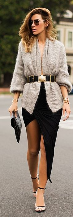 Grey Belted Knitted Cardigan with Black Modern Skirt