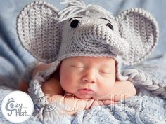 Elephant Hat for Newborns to Toddlers. MADE to ORDER. Custom