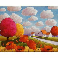 Red Poppy Road Tree by Horvath Contemporary Artwork, Modern Art, Original Paintings, Art Paintings, Indian Paintings, Abstract Paintings, Naive Art, Whimsical Art, Painting & Drawing