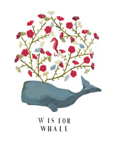 W is for Whale- Archival Art Print  by Rebekkaseale