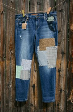 The Claire jean womens size 32 by RhapsodyReinventions on Etsy remade in the USA Patchwork Jeans, 2015 Trends, Patched Jeans, Fabric Patch, Cute Jeans, Joes Jeans, Distressed Denim, Outlander, Claire