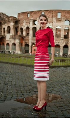 Red and White Striped Length Sleeve Boat Neck Dress Cute Dresses, Cute Outfits, Dresses For Work, Modest Dresses, Work Fashion, Fashion Outfits, Womens Fashion, Divas, Boat Neck Dress