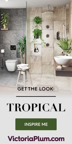 In the wonderful world of bathroom interiors, things are certainly hotting up! With more and more tropical variants available from High Stre. Tropical Bathroom, Boho Bathroom, Budget Bathroom, Small Bathroom, Bathroom Ideas, Bathroom Faucets, Bathroom Rack, Attic Bathroom, Bathroom Plants