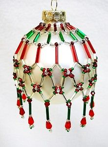 Free Beaded Victorian Ornaments Patterns | Pattern Only Beaded Christmas Ornament Cover Holiday Original ...