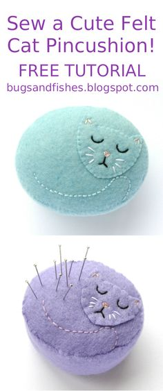Sewing Cushions Today I'm sharing a tutorial for all you cat fans: how to make a sweet felt pincushion in the shape of a sleeping kitty! This project o. Fabric Crafts, Sewing Crafts, Sewing Projects, Sewing Kits, Needle Book, Needle Felting, Needle Case, Nuno Felting, Felt Patterns
