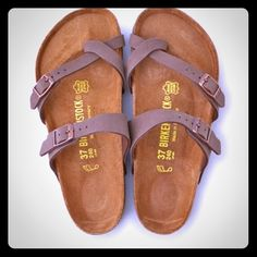 Women's Birkenstock Mayari Sandal Comfortable Birk sandal. Gently worn. I am typically a size 6.5 and these fit great if not a little big. They are a gray/light brown color! Birkenstock Shoes Sandals