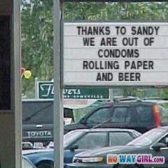Funny Store Sign Thanks Hurricane Sandy