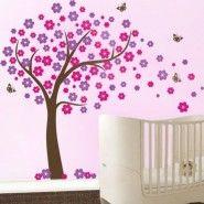 Vinilos Infantiles de Arboles con flores y Mariposas  Adquiere MiVinilDecorativo HOY o tu Fotomural Personaliz..